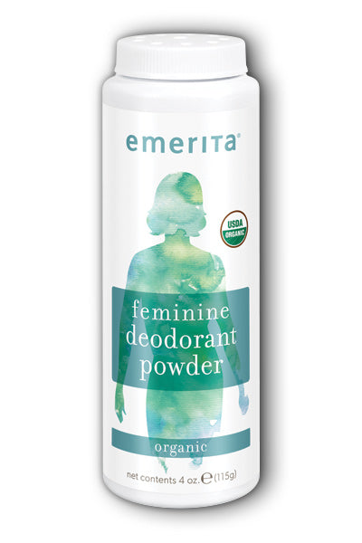 Emerita - Feminine Deodorant Powder | Stops Odor & Wetness of Thighs, Vaginal Area, Breasts | Organic & No Talc 4 oz