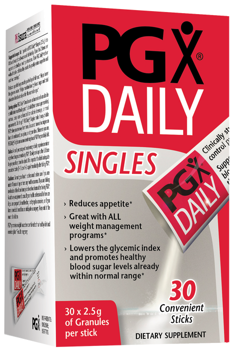 Natural Factors - PGX Daily Singles, Easy on-the-go Assistance with Normalizing Appetite, 2.5g of Granules per Stick, 30 Packets