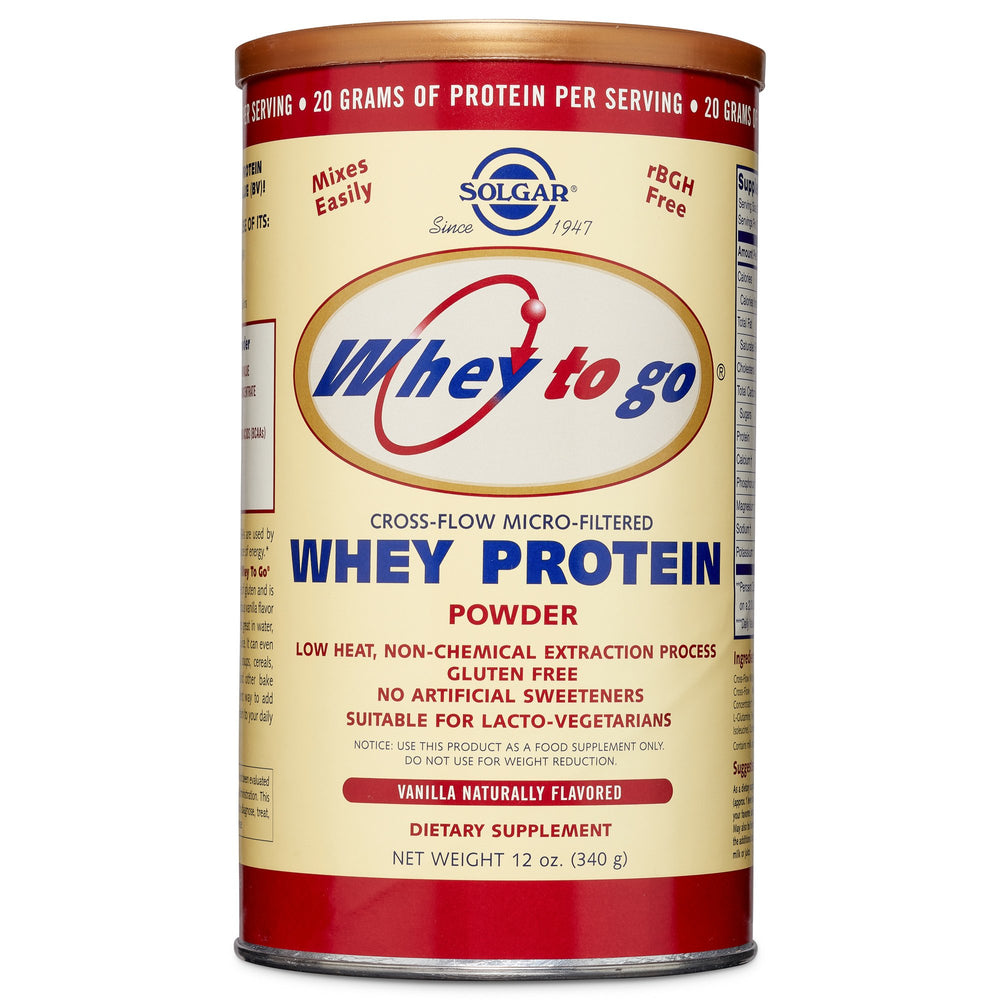 Solgar- Whey To Go® Protein Powder* Natural Vanilla Flavor- 12 oz
