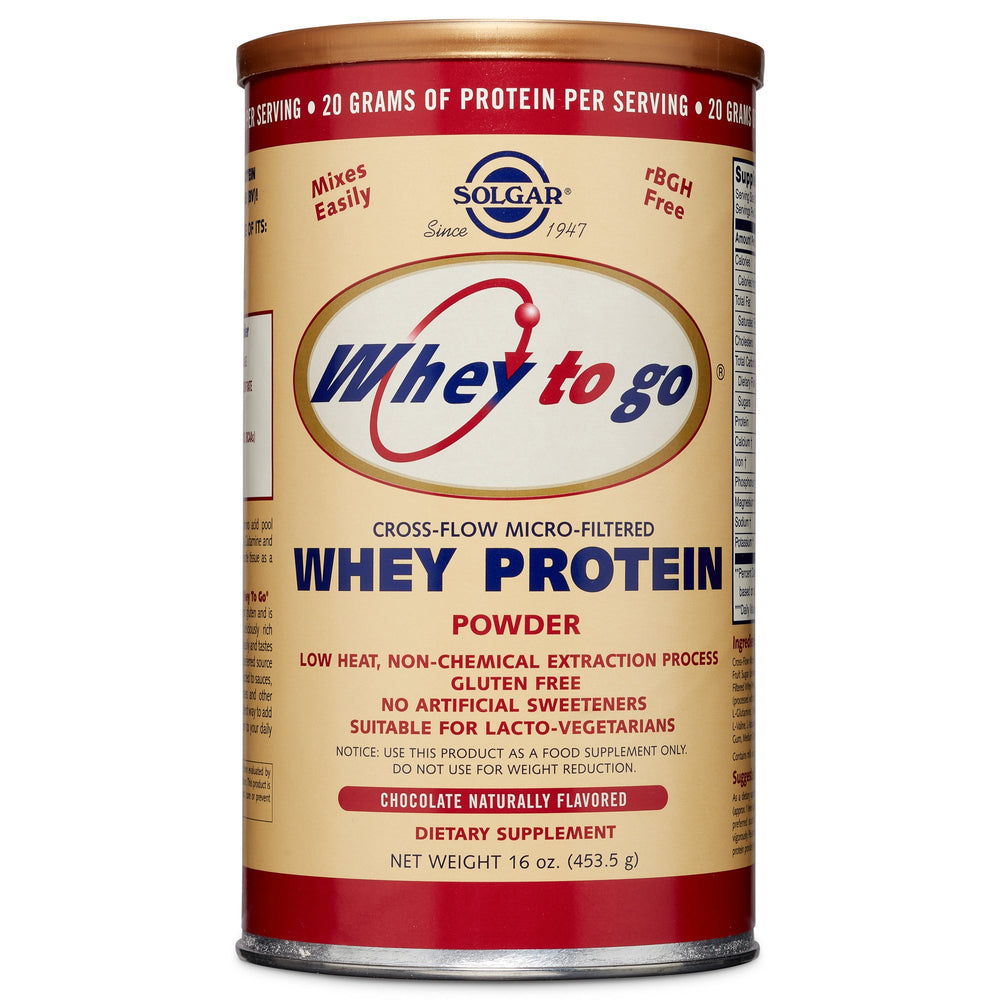 Solgar- Whey To Go® Protein Powder* Natural Chocolate Flavor- 16 oz