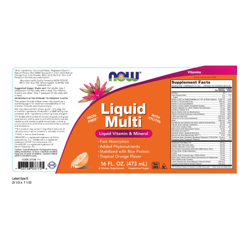 NOW FOODS -Liquid Multi, Tropical Orange Flavor - 16 oz.