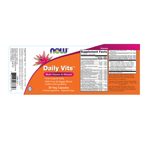 NOW FOODS -Daily Vits™ - 30 Veg Capsules