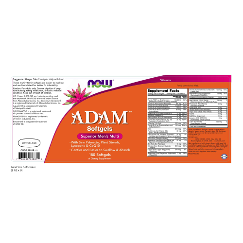 NOW FOODS -Adam™ Men's Multiple Vitamin - 180 Softgels