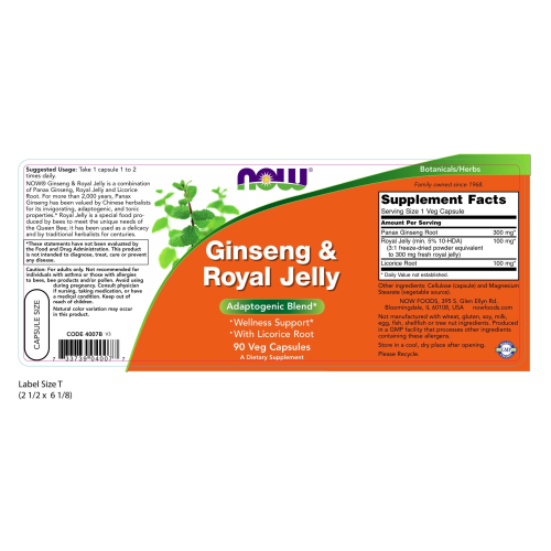 NOW FOODS -Ginseng & Royal Jelly - 90 Capsules