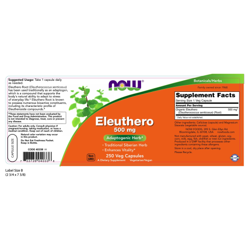 NOW FOODS -Eleuthero 500 mg - 250 Veg Capsules