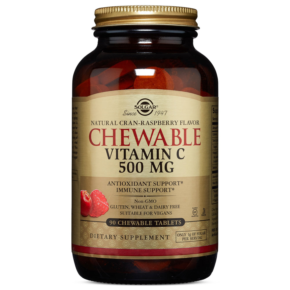 Solgar- Vitamin C 500 mg Chewable Tablets - Cran Raspberry Flavor- 90