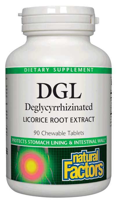 Natural Factors-DGL Chewable Tablets 400 mg 10:1 Extract Deglycyrrhizinated Licorice Root Extract 90 TAB