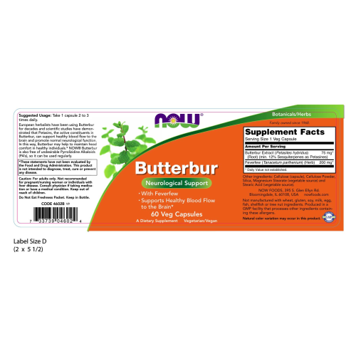 NOW FOODS -Butterbur - 60 Veg Capsules
