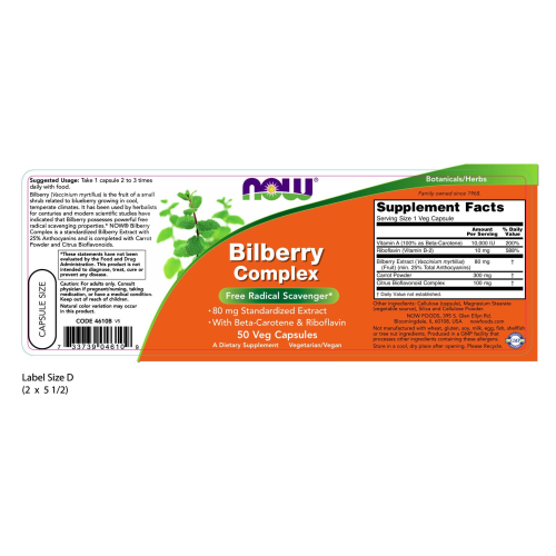 NOW FOODS -Bilberry Complex 80mg - 50 Veg Capsules