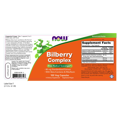 NOW FOODS -Bilberry Complex 80 mg - 100 Veg Capsules