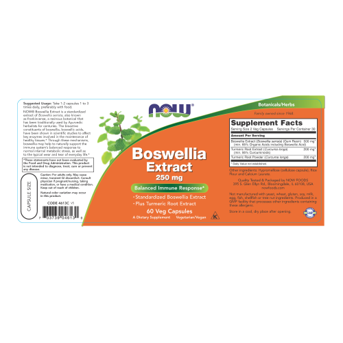 NOW FOODS -Boswellia Extract 250 mg - 60 Veg Capsules