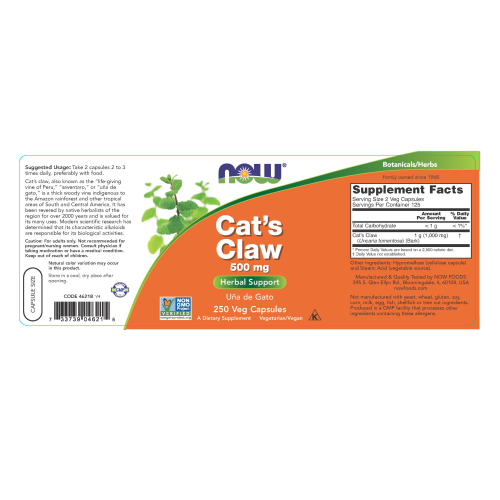 NOW FOODS -Cat's Claw 500 mg - 250 Veg Capsules