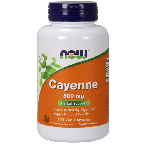 NOW FOODS -Cayenne 500 mg - 100 Veg Capsules