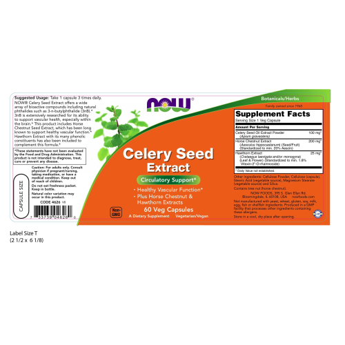 NOW FOODS -Celery Seed Extract - 60 Veg Capsules