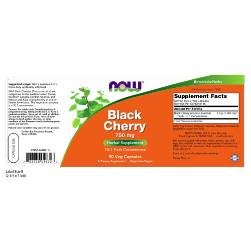 NOW FOODS -Black Cherry 750 mg - 90 Veg Capsules