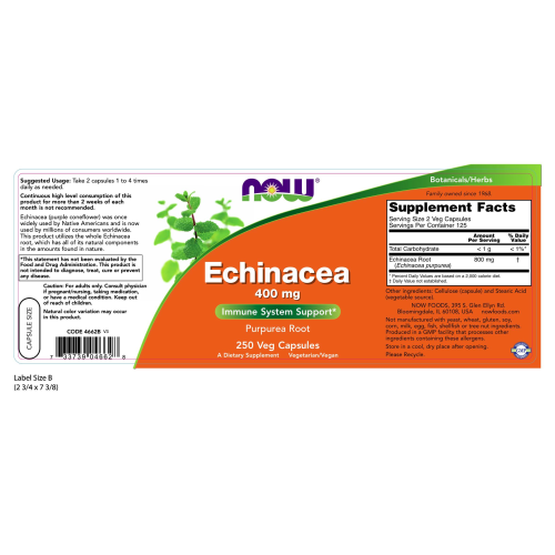 NOW FOODS -Echinacea 400 mg - 250 Capsules