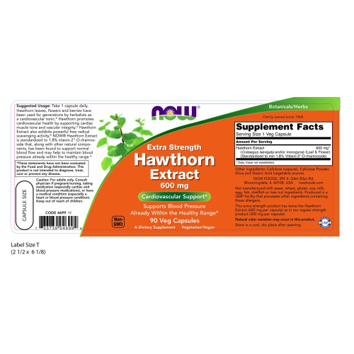 NOW FOODS -Hawthorn Extract 600 mg, Extra Strength - 90 Veg Capsules