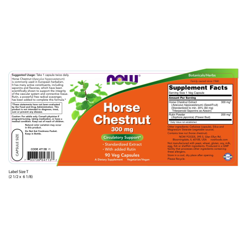 NOW FOODS -Horse Chestnut 300 mg - 90 Veg Capsules