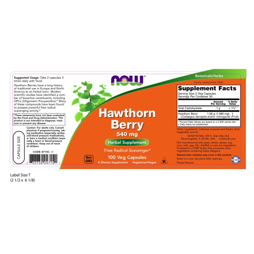 NOW FOODS -Hawthorn Berry 540 mg - 100 Capsules