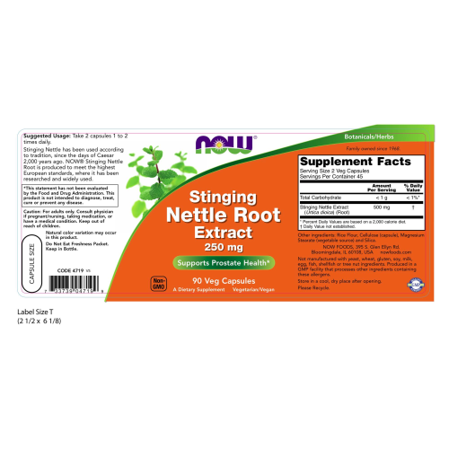 NOW FOODS -Stinging Nettle Root Extract 250 mg - 90 Veg Capsules