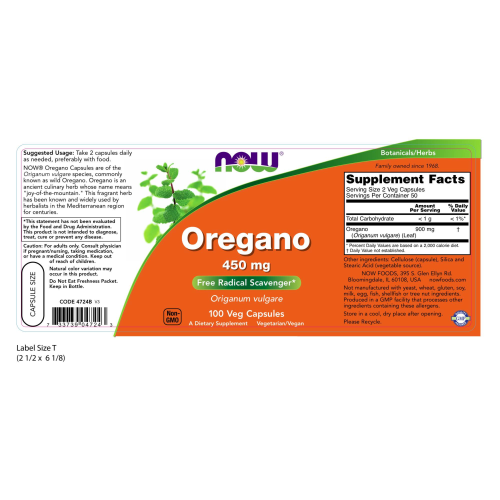 NOW FOODS -Oregano 450 mg - 100 Capsules