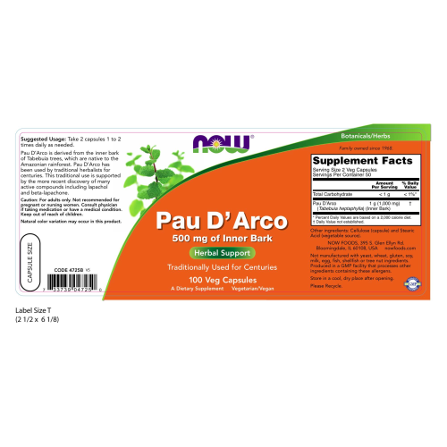 NOW FOODS -Pau D' Arco 500 mg - 100 Veg Capsules