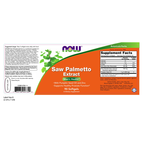 NOW FOODS -Saw Palmetto Extract 80 mg - 90 Softgels