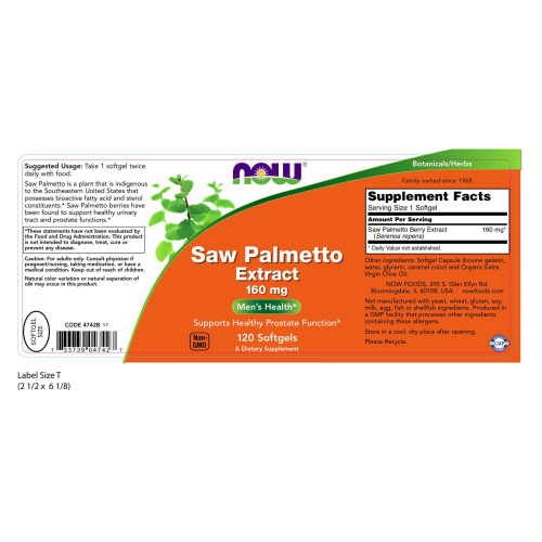 NOW FOODS -Saw Palmetto Extract 160 mg - 120 Softgels