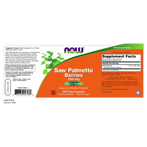 NOW FOODS -Saw Palmetto Berries 550 mg - 250 Capsules