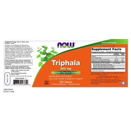 NOW FOODS -Triphala 500 mg - 120 Tablets