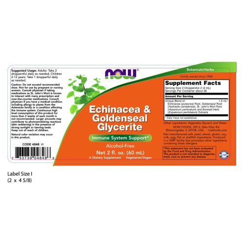 NOW FOODS -Echinacea & Goldenseal Glycerite - 2 oz.