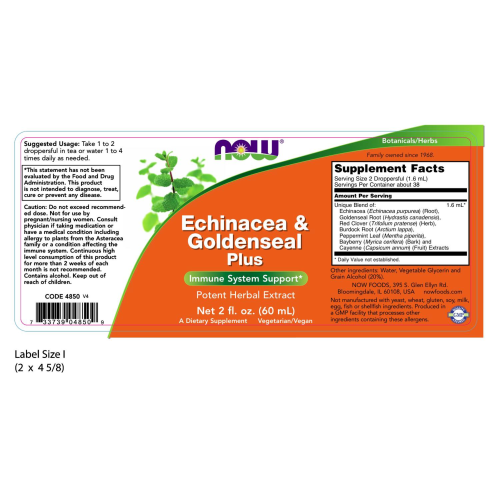 NOW FOODS -Echinacea & Goldenseal Plus - 2 oz.