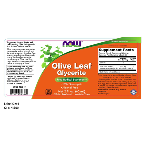 NOW FOODS -Olive Leaf Glycerite 18% - Vegetarian - 2 oz.