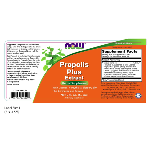 NOW FOODS -Propolis Plus Extract Vegetarian - 2 oz.