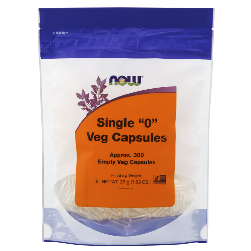 "NOW FOODS -Empty Capsules, Vegetarian, Single ""0"" - 300 Veg Capsules"