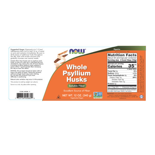 NOW FOODS -Psyllium Husks, Whole - 12 oz