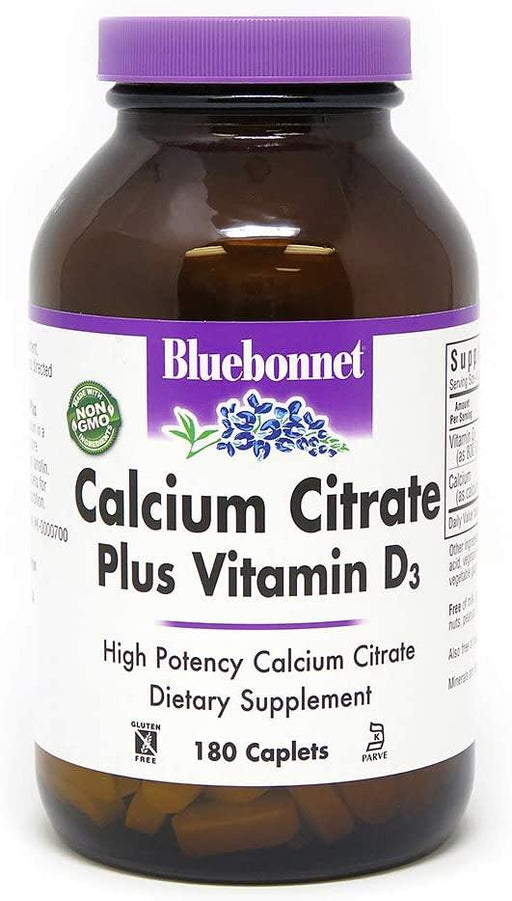 Blue Bonnet - CALCIUM CITRATE PLUS VITAMIN D3 180CAPLET - Highland Health Foods
