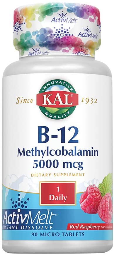 Kal - 5000 Mcg Ultra B-12 Methylcobalamin Tablets, Raspberry, 90 Count