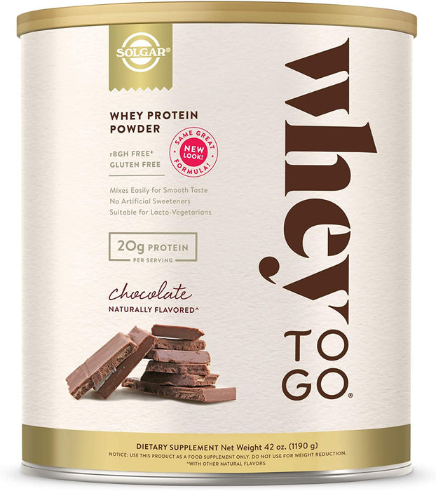 Solgar- Whey To Go® Protein Powder* Natural Chocolate Flavor- 41 oz