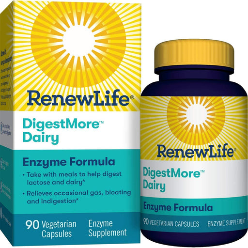 Renew Life -Digestmore Dairy Enzyme Vegetarian Capsules, 90 Count