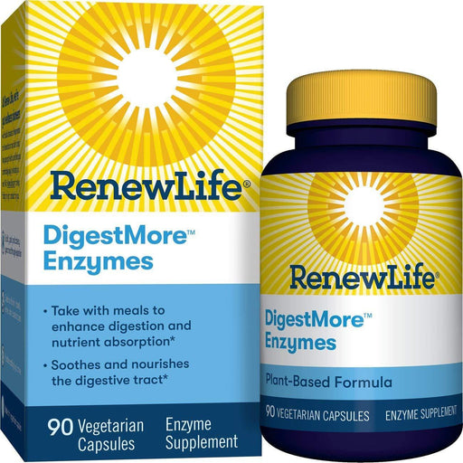 Renew Life - Adult Digestmore Enzyme Supplement Vegetarian Capsules - 90 Count