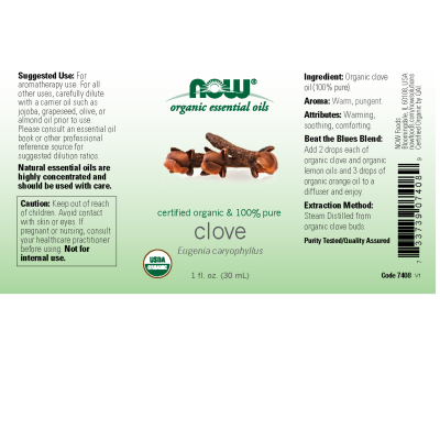 NOW FOODS - ORGANIC CLOVE OIL 1 OZ