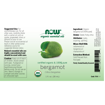 NOW FOODS - ORGANIC BERGAMOT OIL  1 OZ