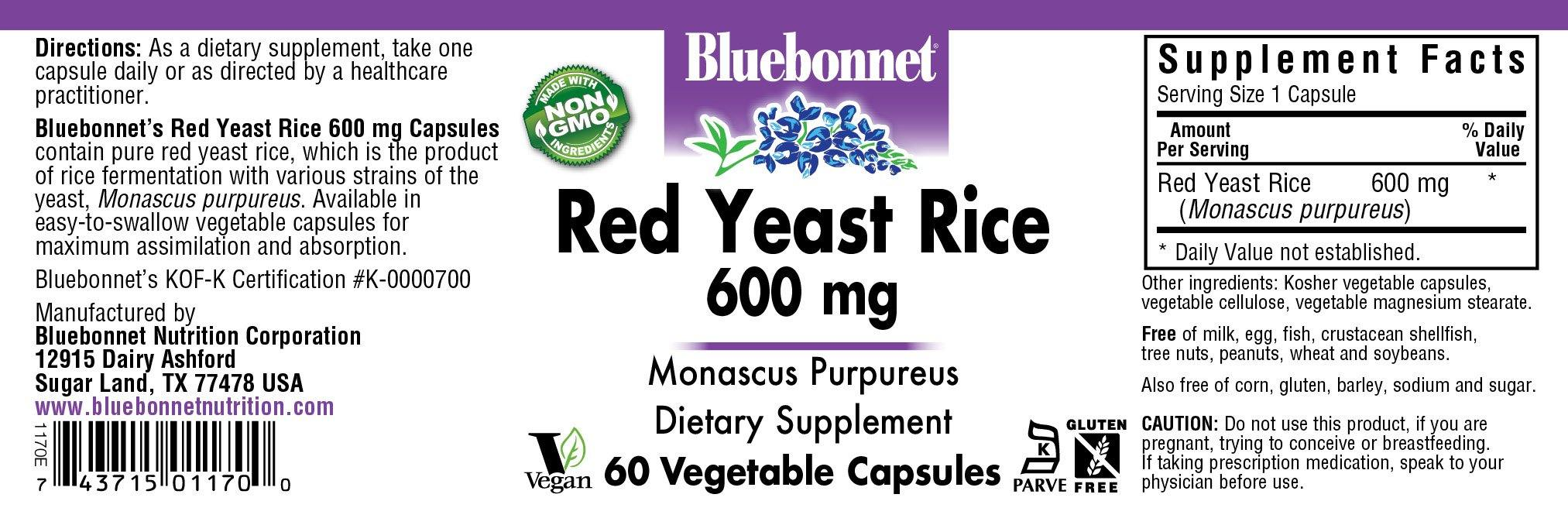 Blue Bonnet- RED YEAST RICE 600 mg60