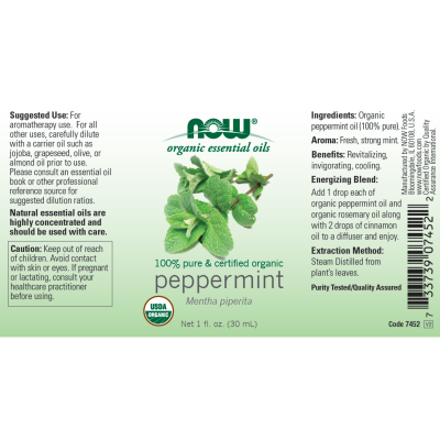 NOW FOODS - ORGANIC PEPPERMINT OIL   1 OZ