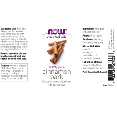 NOW FOODS - CINNAMON BARK OIL  1 OZ