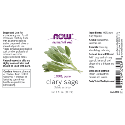 NOW FOODS - CLARY SAGE OIL  1 OZ