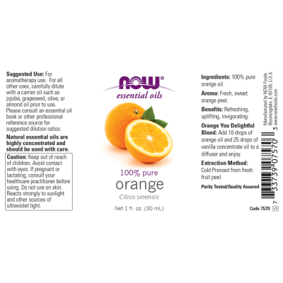 NOW FOODS - ORANGE OIL  1 OZ