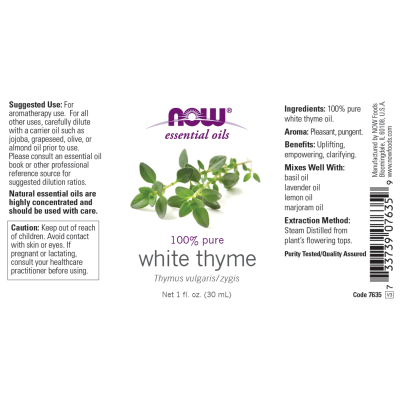 NOW FOODS - THYME OIL WHITE  1 OZ