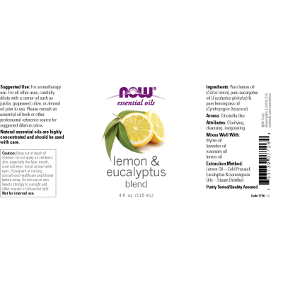 NOW FOODS - LEMON & EUCALYPTUS OIL BLEND  4 OZ